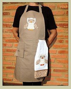 Avental feminino + pano de prato e bolso suspenso - coruja- Cor: caqui