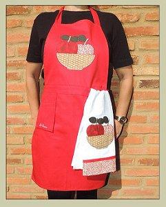 Avental feminino + pano de prato - cesta  maças
