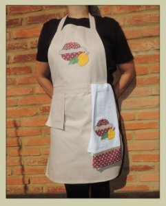 Avental feminino com pano de prato e bolso suspenso
