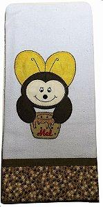 Pano de prato bordado Animais - abelha c/ mel (cod.34)