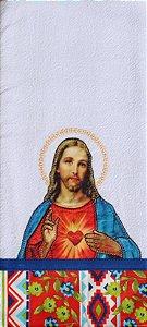 Pano de Prato em Patchwork Santos - Sagrado Coração Jesus (cod.19)
