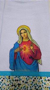 Pano de Prato em Patchwork Santos - Sagrado Coração Maria (cod.20)