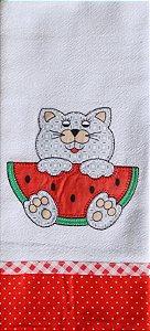 Pano de Prato em Patchwork  - Gato c/ melancia (cod.36)