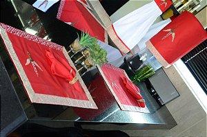 Jogo de cozinha 8 peças – cor vermelho c/ Bordado Pimenta