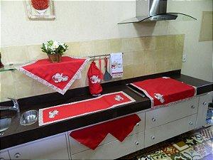 Jogo de cozinha 7 peças – cor vermelho c/ Bordado Bule Café