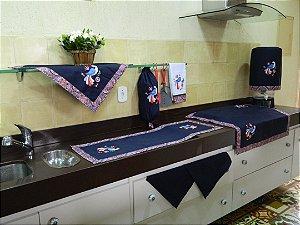 Jogo de cozinha 8 peças – cor azul marinho c/ Bordado Pavão