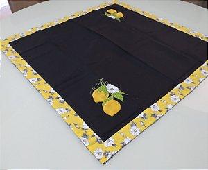 Toalha gourmet 1mx1m - Cor: Preto - Bordado Limão Siciliano
