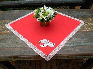 Toalha 78cmx78cm - Cor: Vermelha - Bordado: Bule