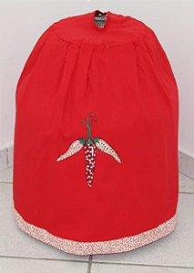 Capa de botijão Bordada - Cor: Vermelha - Bordado: Pimenta