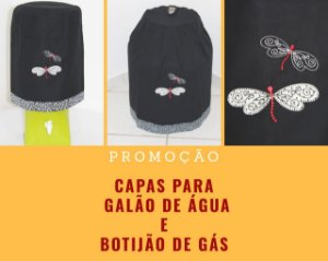 Capa de botijão Bordada + 01 capa de galão de água- Cor: Preto - Bordado: Libélula