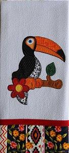 Pano de prato bordado Tucano (cód.15)