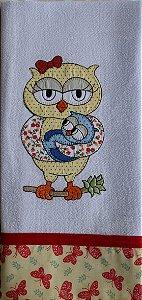 Pano de Prato em Patchwork - mãe coruja (cod.74)