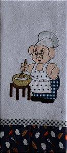 Pano de Prato em Patchwork Animais - Porco Cozinheiro (Cod.71)