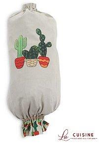 Puxa-saco bordado Cactus em Brim