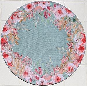Capa de Sousplat em tecido poliéster  Sublimado - Flores e Borboletas (cod.0059)