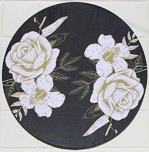 Capa de Sousplat em tecido poliéster Sublimado - Rosas Brancas (cod.0058)