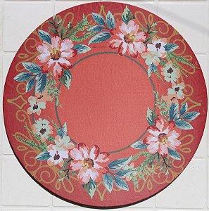 Capa de Sousplat em tecido poliéster Sublimado - Flores víntage (cod.002)