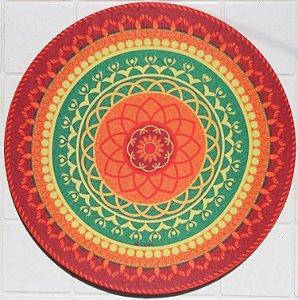 Capa de Sousplat em tecido poliéster  Sublimado - Mandala laranja (cod.006)