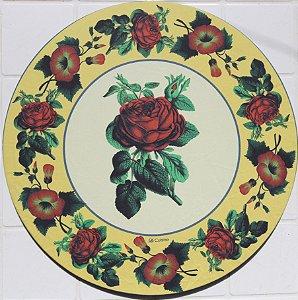 Capa de Sousplat em tecido poliéster  Sublimado - Rosas Vermelhas (cod.21)