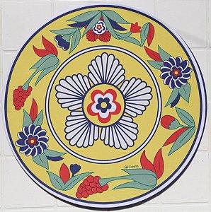 Capa de Sousplat em tecido poliéster  Sublimado- Flores Mexicanas (cod.20)