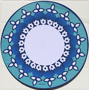 Capa de Sousplat em tecido poliéster  Sublimado - Mandala Azul (cod.18)