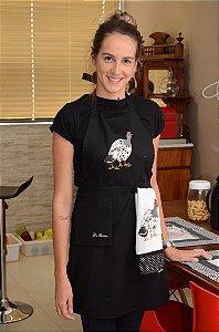 Avental feminino + pano de prato - Galinha da Angola - Cor: preto