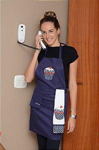 Avental feminino + pano de prato - Cor: Azul Marinho - Bordado: Cupcake