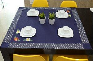 Toalha Gourmet 1,0mx1,0m Escanteada - Cor: Azul Marinho - 3 Margaridas (BLACK FRIDAY)