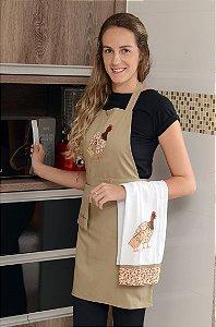 Avental feminino + pano de prato - Galinha da Angola - Cor: caqui