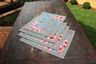Jogo  Americano 4 peças - flores e borboletas (cod.0059)