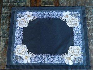 Jogo  Americano 6 peças - preto com rosas brancas