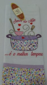 Pano de prato bordado DIA DAS MÃES - Tempero