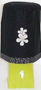 Capa de Galão de Água 20 litros - Cor: Preto - Bordado: Flores