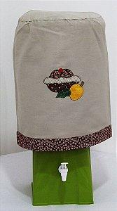 Capa de Galão de Água 20 litros - Cor: Areia - Bordado: Cupcake