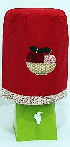 Capa de Galão de Água 20 litros - Cor: Vermelho,  bordado cesta de maça