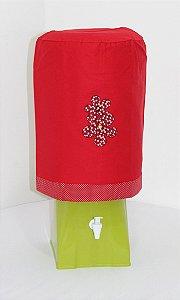 Capa de Galão de Água 20 litros - Cor: Vermelho - bordado Flores