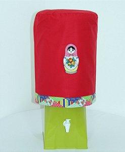 Capa de Galão de Água 20 litros - Cor: Vermelho - bordado matrioska