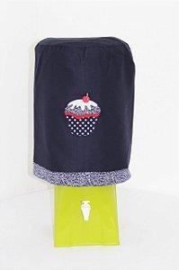Capa de Galão de Água 20 litros - Cor: Azul Marinho - bordado: Cupcake