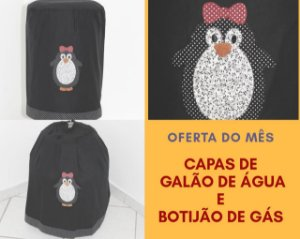 Capa de botijão Bordada + 01 capa de galão de água- Cor: Preto - Bordado: Pinguim