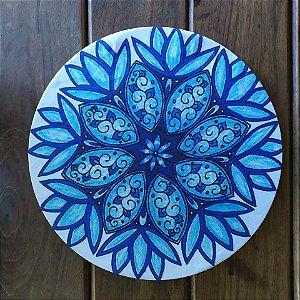 Capa de Sousplat em tecido Mandala Azul