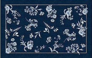 Toalha de Mesa Flores Azuis - Linho