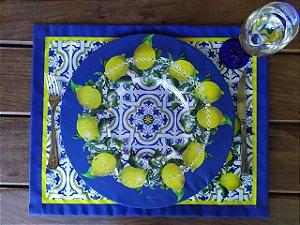 Conj. Sousplat + Jogo  Americano com 4 guardanapos - Azulejo com limão