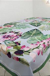 Toalha de Mesa Alice (Flores aquarela) - Linho