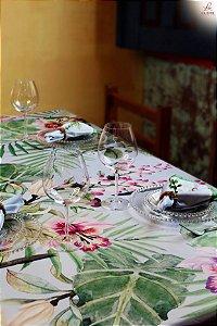Toalha estampa Flores aquarela - Linho