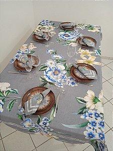 Toalha de Mesa Hosana (Floral cinza) - Tecido com Impermeabilidade