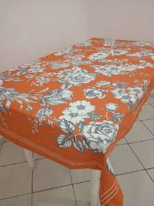 Toalha de Mesa Rose (Floral laranja) - Linho