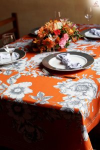 Toalha de Mesa Floral laranja - Linho