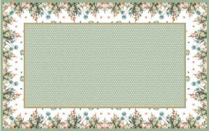 Toalha de Mesa Barrado de flores - Linho