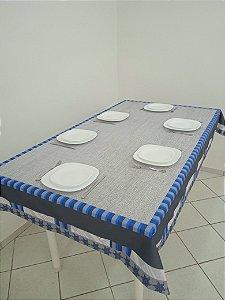 Toalha de Mesa Júlia (Listras Azul) - Tecido com Impermeabilidade