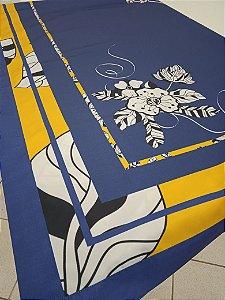 Toalha de Mesa Lara  (Azul Ibisco) - Tecido com Impermeabilidade